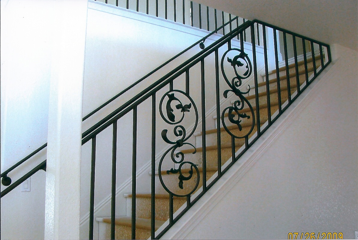 Wrought iron railings escondido hand railings escondido for Interior iron railing designs